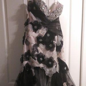 Pink & Black Flower Prom Dress